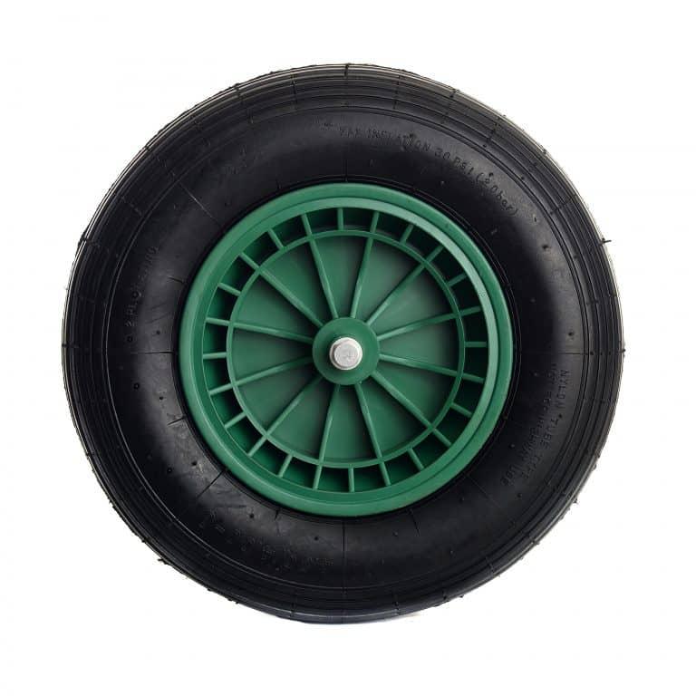 Kruiwagenwiel extra stevig 4.80/4.00-8 luchtband groen kunststof velg