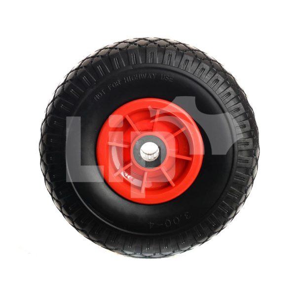 Bolderkarwiel anti lek rode velg 3.00-4 kunststof velg 20 mm Ø