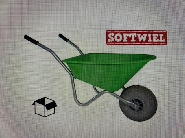 Kinder kruiwagen groen met soft wiel. 35 Liter inhoud.